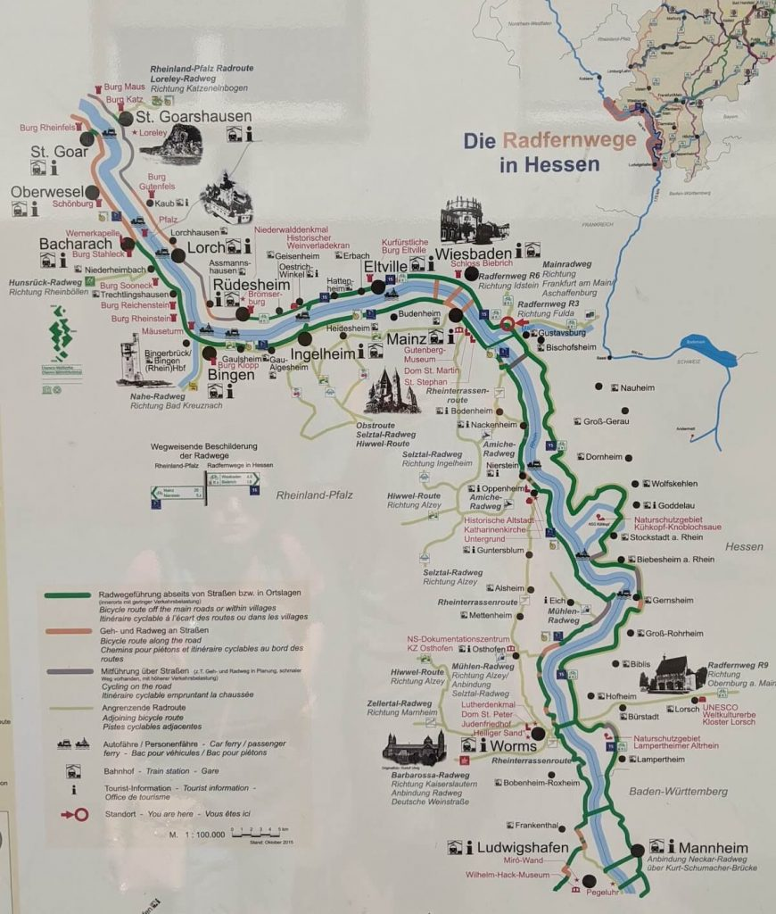 Rhine Cycle Route a map
